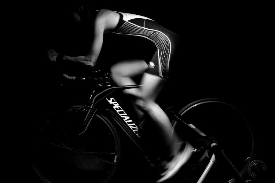 athlete bike black and white cycle